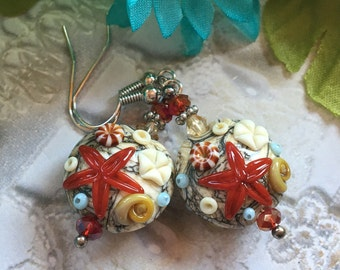 Sand Color SRA Lampwork Earrings, Lampwork Earrings, Lampwork Jewelry, Starfish Earrings, Mothers Day, Gift For Her, SRA Lampwork