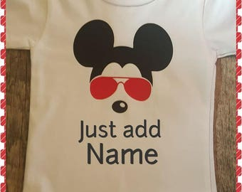 Disney, Mickey Mouse, Vacation Shirt, Onesie or Tee, Monogrammed with Child's Name and Year If You'd Like (Front or Back)