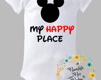Mickey Mouse, Minnie Mouse, My Happy Place, Disneyland, Disney World, Mickey Castle, Disney Vacation, Onesie or Tee - Super Adorable!