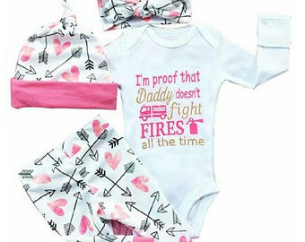 I'm Proof That Daddy Does't Fight Fires All The Time, Baby Girl 4 Piece Pant Set