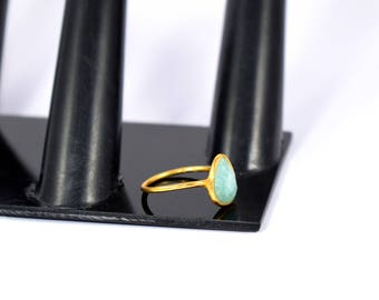 Amazonite gemstone ring , teardrops ring , gold plating ring , adjustable ring ,stacking ring , gemstone ring, natural ring,green color ring
