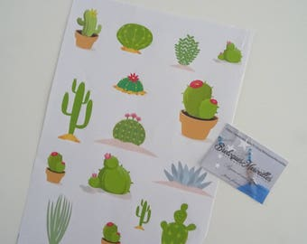 "Lot 2 planches autocollants pour bujo 2018 Collection ""CACTUS"""