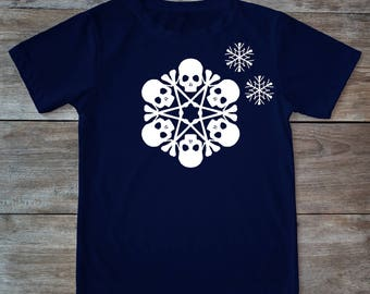 Skull shirt, skull christmas, skull snow flake, snow flake shirt, snowflake shirt, christmas shirt, christmas gift, adult shirt, xmas tee