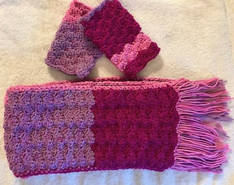 FREE SHIPPING! Handmade Crochet Shell Stitch Raspberry Variegated Scarf and Fingerless Gloves Set.