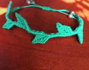 Macrame Leaf Bracelet (Adjustable)