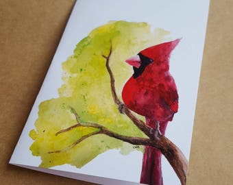 Cardinal on Branch/Blank Note Card/Watercolor/Cardinal Lover/Well-wishing/Thinking of You/Cardinal Greeting Card/Any Occasion