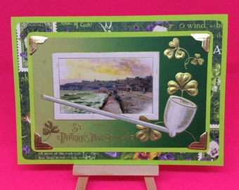 Collectable vintage St patricks day postcard unique handmade upcycled greetings card four leaf clover green gold st pattys day card gift tag