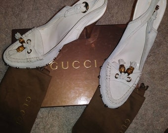 TOM FORD Gucci Bone offwhite wooden sole clog with studs and bamboo accent