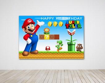 Digital file only- Super Mario Birthday Party Banner Super Mario Birthday Party Back Drop Super Mario Printable Digital Copy