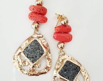 Coral and lava stone earrings