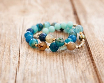Blue Bracelet set, womens bead bracelet, Blue Elastic Bracelet, Light Blue bracelet set, Blue Bracelet Stack, Sea Blue Bracelet