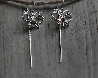 Sterling Silver Threader Earrings, Sterling Silver Butterfly Earrings, Sterling Silver Earrings, Butterfly Earrings, Fashion, JE0006