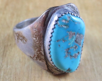 Men's Vintage Turquoise Ring Size 12 Southwest Native American Sterling Silver 13.8 Grams