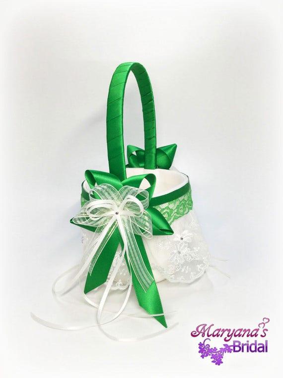 Flower Girl Baskets Green : Emerald green flower girl basket wedding