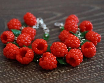 Handmade berries bracelet, Polymer clay berry, Handmade bracelet, Polymer clay rasberry, Raspberry bracelet
