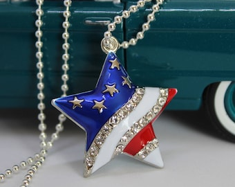 American flag necklace, Independence day necklace, Patriotic jewelry necklace, Independence day gift idea, Patriotic jewelry gift for her
