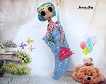 handmade doll Coraline doll Coraline Coraline doll + gift Necklace Charm-for Finding Lost or Bad Things