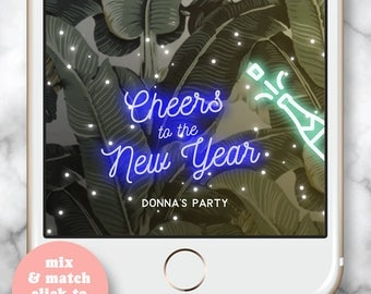 New Years Party 2018 * NYE Party Geofilter Champagne snapchat Happy Champagne Birthday 30th Birthday Geofilter New years eve snapchat filter