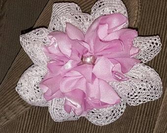 Lace Flower Clip, Hair Accessory, Hair Clip, Flower Embellishment, Purse Clip, Hat Clip, Flower Girl Clip, Wedding Clip, Flower Corsage