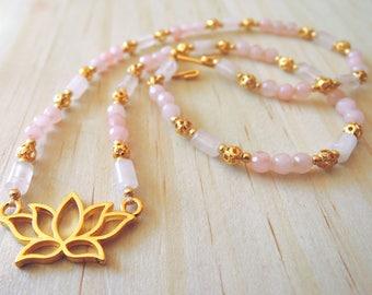 Rose Quartz Lotus Necklace