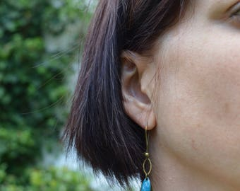 Stud Earrings peacock blue petals color brass bronze