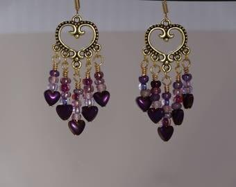 Purple heart beaded chandelier earrings