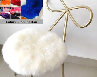 Round Chair pads Sheepskin white Square Rectangle Sheepskin stool covers gift genuine sheepskin chair pad mini rug carpet ivory red black