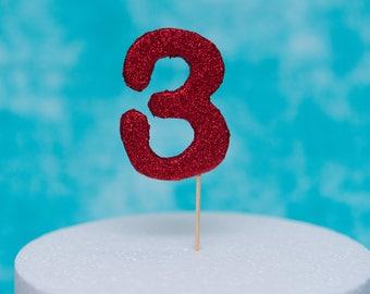 Medium 9cm Red Glitter Cake Number Topper - Birthday Cake Number Cake Topper, Fondant Number Cake Decoration with Food Safe Glitter