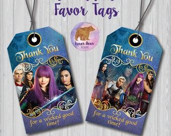 Disney Descendants 2 Favor Tags, Descendants Favour Tags, Descendants Party Decoration, Descendants Thank You Tags, Descendants Favours