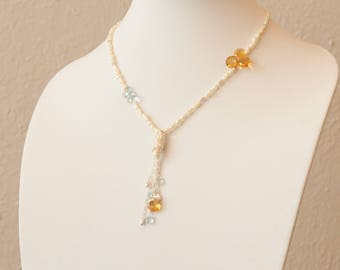 Sun and Water: citrine, aquamarine, pearls, and sterling silver