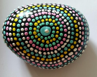 Rainbow Circles, Concentric Circle, Infinity, Painted Rock Art, Acrylic Painted Rock Art, Rock Art, A-Rock-A-Day, Daily Meditation