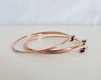 copper bangles, set of three copper bangles, hammered copper bracelets