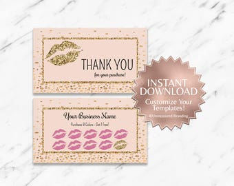 Gold Glitter and Blush LipSense Loyalty and Thank You Card Templates