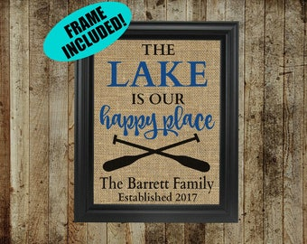 Lake House Decor - Framed Burlap Print - Lake House Wall Decor - Lake House Gifts - The Lake Is My Happy Place - Life Is Better At The Lake