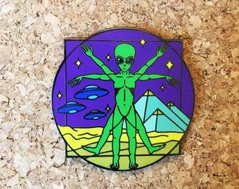 Ancient Visitors (Neon) Enamel Pin