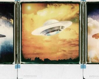Original Polaroid Camera Prints, Tryptych, 3 UFO's Polaroid Prints