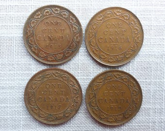 Canadian Coins ~ Canada Coins ~ 4 Coins: 1913, 1916, 1917 & 1919, 1 Cent (Large Cent) ~ King George V ~ Bronze ~ ca01