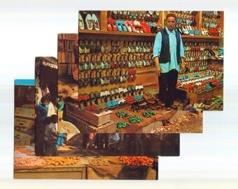 RARE Benghazi Libya Postcards, Vintage 80s Libya Postcards, Covered Market People Postcards, Collectible Libya Postcards, Jamahiriya