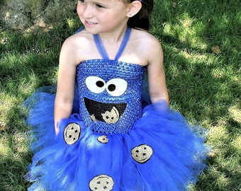 Cookie Monster inspired Tutu Dress with Headband- Personalized Birthday Outfit-Custom Birthday Tutu-Halloween Tutu-Glitter Cookie Monster