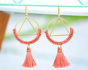 Tassel earrings hoop triangle earrings embroidered, tassel bohemian earrings ethnic, statement tassel earrings tassel boho earring statement