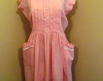 Vintage 1950s pink gingham dress