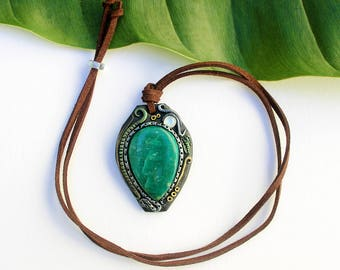 Amazonite & Moonstone Polymer Clay Necklace, Hippie Jewelry, Handmade Necklace, Boho Chic, Festival Jewelry, Statement Necklace