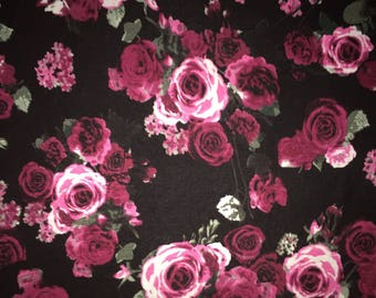 Midnight Rose Garden - Rayon Spandex Knit