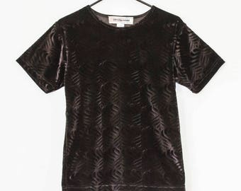 Black Velvet Optical Patterned Boxy Shirt