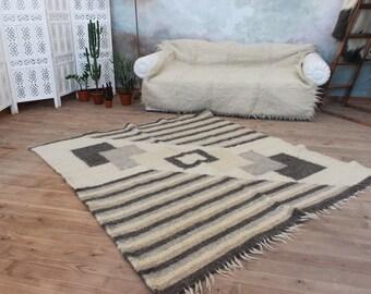 Wool rug gray, geometric pattern, Madern handmade area rug, living room rug, throw rug, pure wool area rug, area rug, hand woven carpet