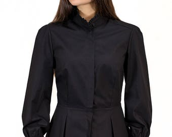 Victorian Blouse in Jet Black