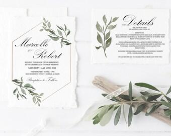 Greenery Wedding Invitation, Gold Geometric Wedding Invitation Template, Wedding Invitation Printable, Geometric Wedding Invite