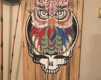 FREE SHIPPING! Steal Your Face Owl on reclaimed wood.