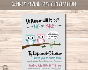 Whoo Will It Be | Owl Gender Reveal | Pink or Blue Owl | Gender Reveal Invitation | Gender Reveal Party | DIGITAL FILE ONLY