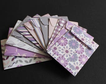Purple Gift card envelopes, Shades of Purple, Gift card holders, Gifts for Her, coin envelopes, money envelopes, set of 12